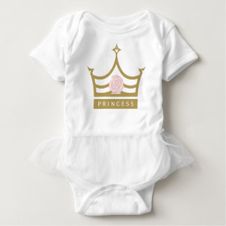 Chic Baby Pink Rose and Gold Princess Crown Baby Bodysuit