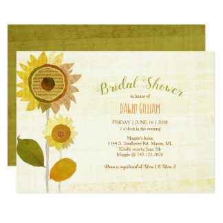 Chic Backyard Sunflowers Bridal Shower Invitation