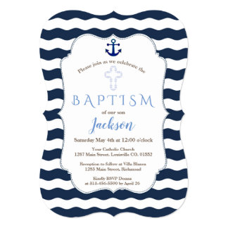 Chic Baptism Nautical Navy Waves Anchor Invite