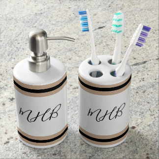 CHIC BATH SET-MODERN HAZELNUT/BLACK/WHITE SOAP DISPENSER AND TOOTHBRUSH HOLDER