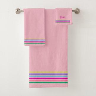 CHIC BATH TOWEL SET_MODERN PASTEL STRIPES