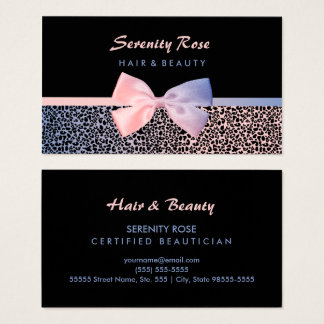 Chic Beautician Pink Blue Leopard Print With Bow