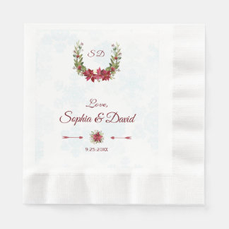 Chic Berries Bullfinch Winter Wreath Wedding Disposable Serviettes