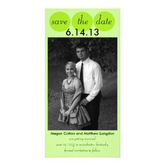 Chic Bird Silhouette & Dots Save the Date in Lime Photo Greeting Card