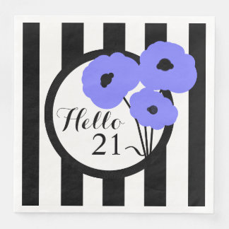 CHIC BIRTHDAY_MOD PERIWINKLE POPPIES ON STRIPES PAPER NAPKIN