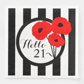 CHIC BIRTHDAY_MOD RED POPPIES ON STRIPES DISPOSABLE SERVIETTE