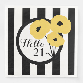 CHIC BIRTHDAY_MOD YELLOW POPPIES ON STRIPES DISPOSABLE SERVIETTE
