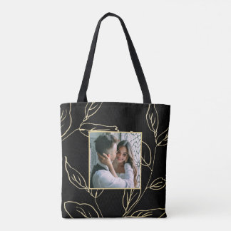 Chic Black and Faux Gold Botanical with Photo Tote Bag