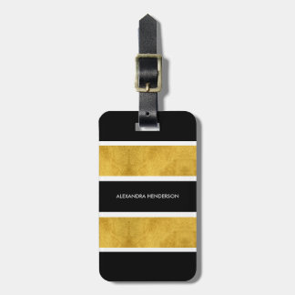 Chic Black and Gold Stripe Travel   Luggage Tag