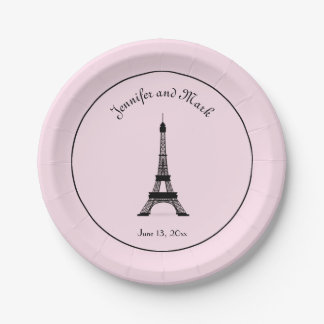 Chic Black and Pink French Eiffel Tower Wedding 7 Inch Paper Plate