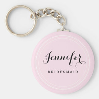 Chic Black and Pink Personalize Bridesmaid Basic Round Button Key Ring