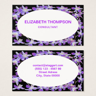 chic black and purple flowers frame business card