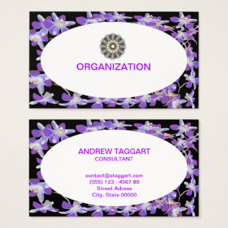 chic black and purple flowers frame organization business card