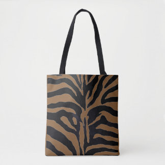 Chic Black and Tan Animal Print Tote Bag