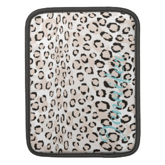 Chic black and white cheetah print monogram sleeve for iPads