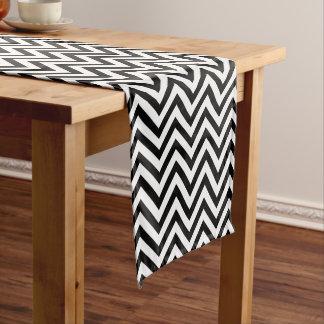 Chic Black and White Chevron Stripes Short Table Runner