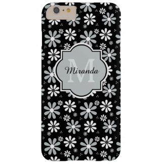Chic Black and White Daisies Name With Monogram Barely There iPhone 6 Plus Case