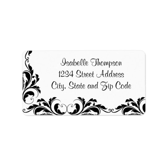 Chic Black and White Damask Flourish Border Label