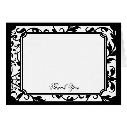 Chic Black and White Damask Thank You Card
