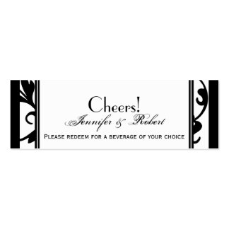 Chic Black and White Damask Wedding Drink Ticket Business Card Templates