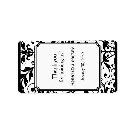 Chic Black and White Damask Wedding Lip Balm Label Address Label