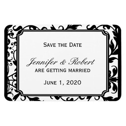 Chic Black and White Damask Wedding Save the Date Rectangular Magnet