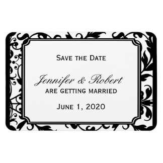 Chic Black and White Damask Wedding Save the Date Rectangular Photo Magnet