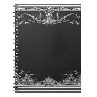 Chic Black and White Fancy Artistic Design Notebooks