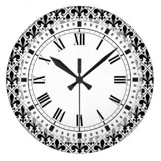 Chic Black and White Fleur de Lis Clocks