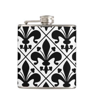 Chic Black and White Fleur de Lis Hip Flask