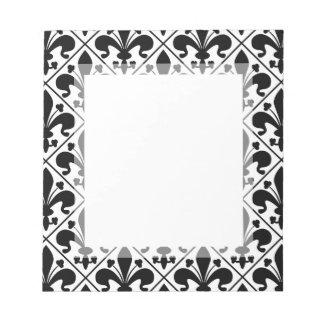 Chic Black and White Fleur de Lis Notepad