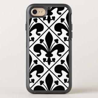 Chic Black and White Fleur de Lis OtterBox Symmetry iPhone 7 Case