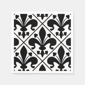 Chic Black and White Fleur de Lis Paper Napkin