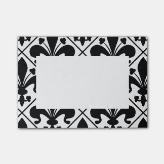 Chic Black and White Fleur de Lis Post-it® Notes