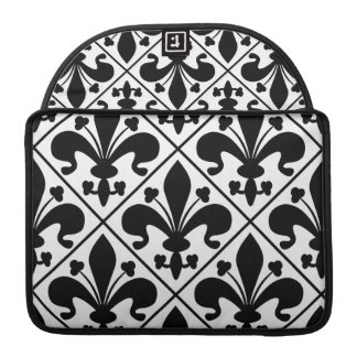 Chic Black and White Fleur de Lis Sleeve For MacBooks