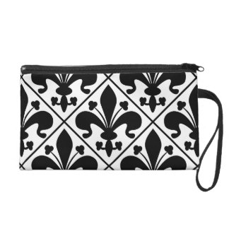 Chic Black and White Fleur de Lis Wristlets