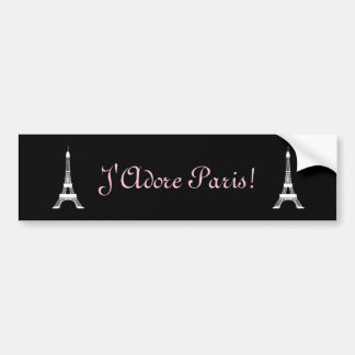 Chic Black and White French Style Eiffel Towers Bumper Sticker