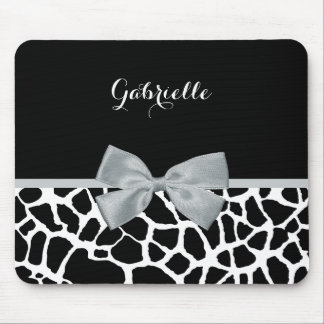 Chic Black and White Giraffe Print Silver Gray Bow Mouse Pad