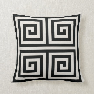 Chic black and white greek key geometric patterns cushion
