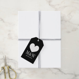 Chic black and white heart wedding favour gift tag