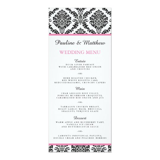 Chic Black and White Pink Damask Wedding Menu Card