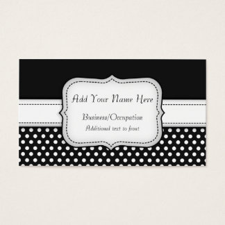 Chic Black and White Polka Dots Pattern Business Card