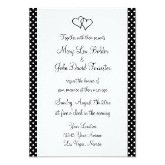 Chic black and white polka dots wedding invitation