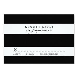 CHIC BLACK AND WHITE STRIPE RSVP CARDS