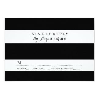 CHIC BLACK AND WHITE STRIPE RSVP CARDS 9 CM X 13 CM INVITATION CARD