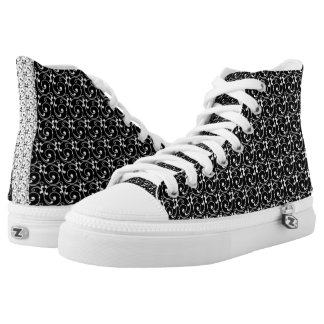 Chic Black and White Vintage Pattern High Tops