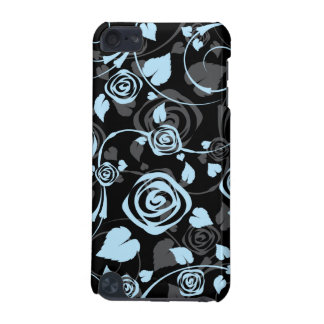 Chic Black & Blue Floral Rose IPod Touch Case