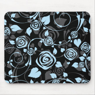 Chic Black Blue Rose Floral Computer Mouse Mouse Pad