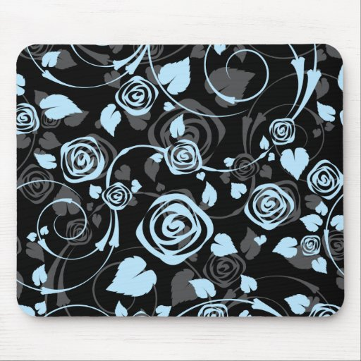 Chic Black & Blue Rose Floral Computer Mouse Mouse Pad