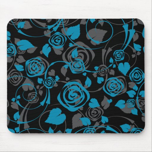 Chic Black & Blue Rose Floral Computer Mouse Mousepads